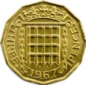 1953 to 1967 Brass Three Pence Elizabeth II Grades from Fine to UNC